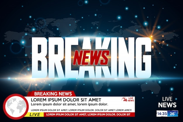 Background screen saver on breaking news Premium Vector