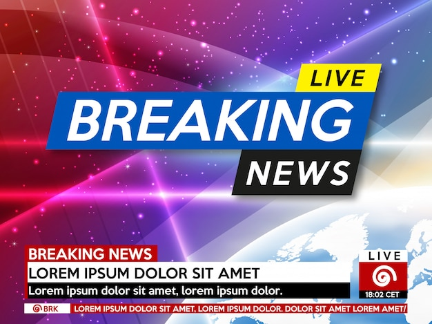 Background screen saver on breaking news. Premium Vector