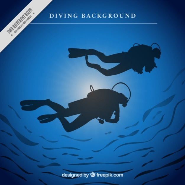 Background of scuba divers silhouettes Free Vector