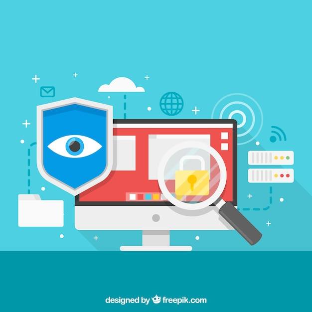 Background of security elements on internet Free Vector