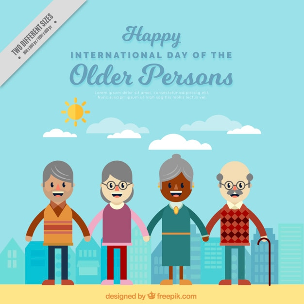 Background of several elderly people united in flat design Free Vector