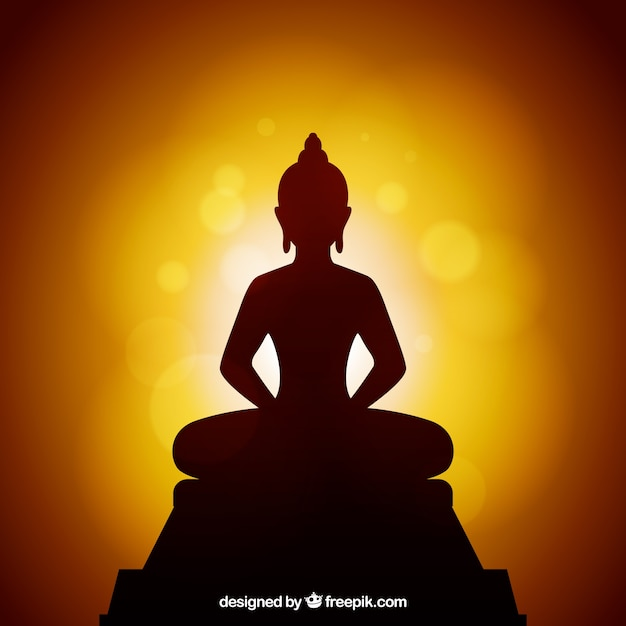 Background silhouette of buddha statue Free Vector