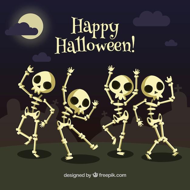 Background of skeletons dancing Free Vector