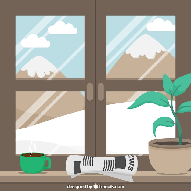 Background of snowy landscape through a window Free Vector