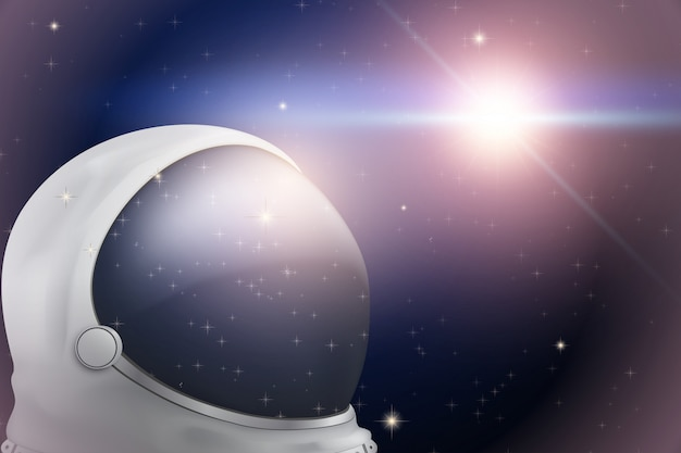 Background of space with astronaut helmet Premium Vector
