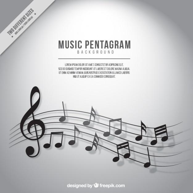 Sfondo di pentagramma con note musicali in toni di grigio Vettore gratuito