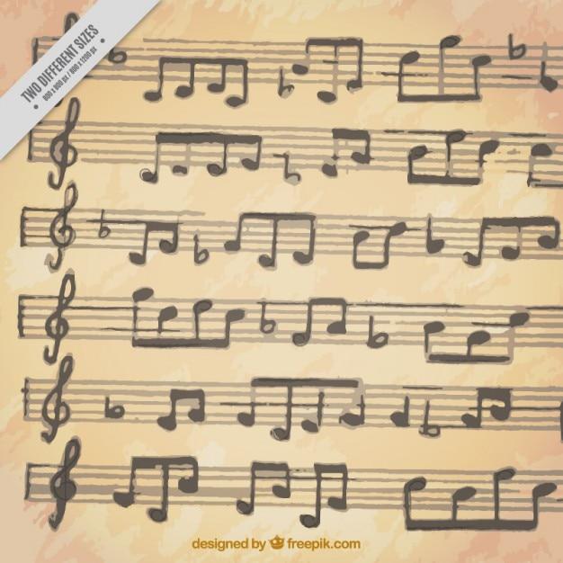 Sfondo di doghe con note musicali Vettore gratuito