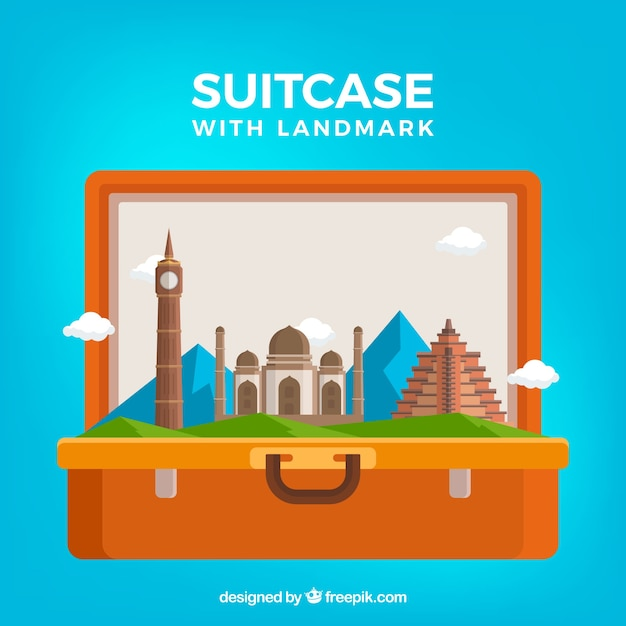 Background suitcase with landmark Free Vector