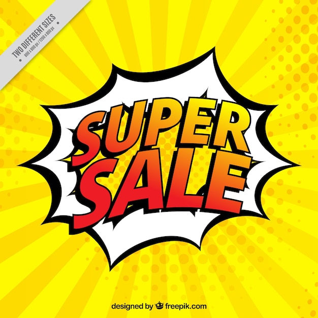 Background of super sales in comic style Free Vector