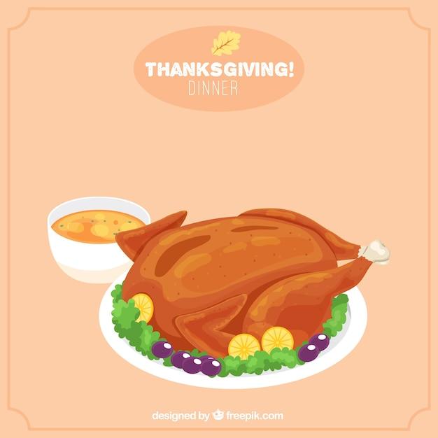 Background of tasty thanksgiving dinner Free Vector