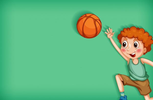 Progettazione del modello del fondo con il ragazzo che gioca pallacanestro Vettore gratuito