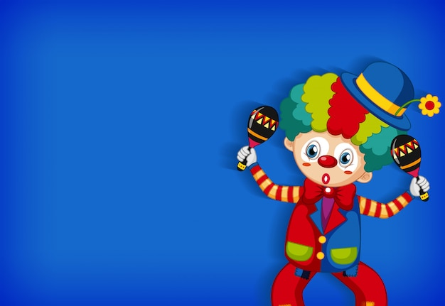 Background template design with funny clown playing maracas Free Vector