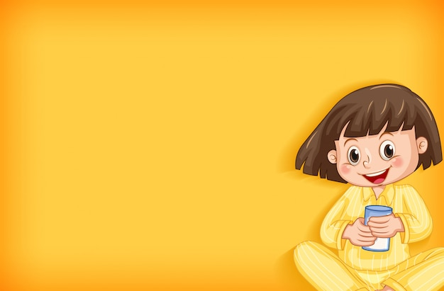 Background template design with happy girl in yellow pajamas Free Vector