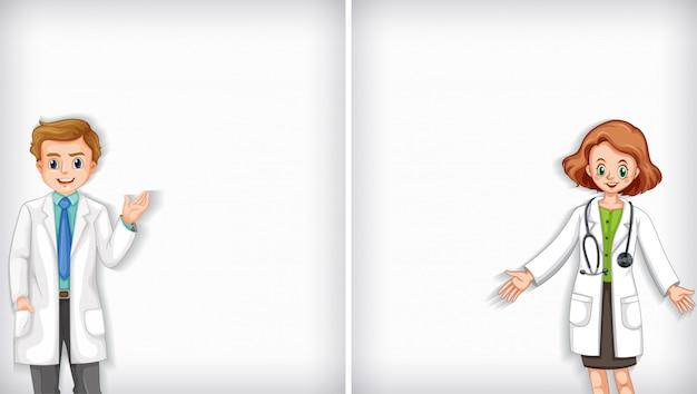 Фоновый дизайн шаблона с врачами мужского и женского пола Бесплатные векторы