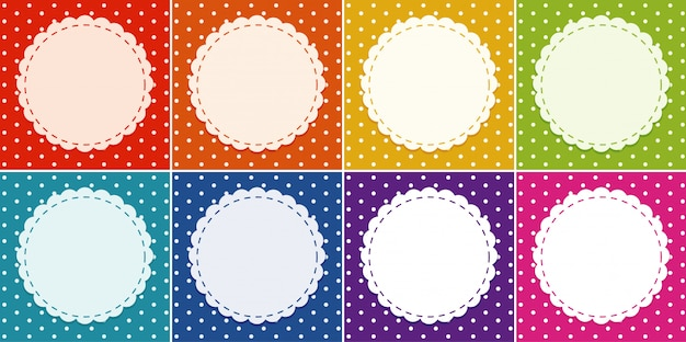 Background template in many colors with round frame Premium Vector