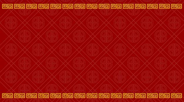 赤で中国のパターンを持つ背景テンプレート 無料ベクター