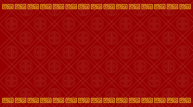 Background template with chinese pattern in red Free Vector