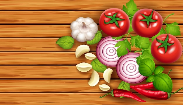 background template with fresh vegetables vector premium download