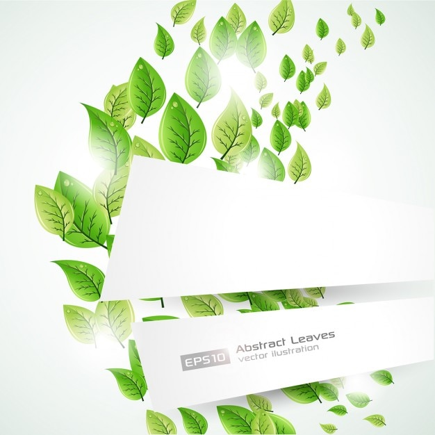 Background template with green leaves Vector | Free Download