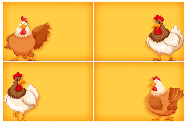 無地の色と鶏の背景テンプレート 無料ベクター