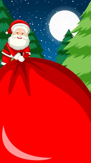 Background template with santa holding big bag Free Vector