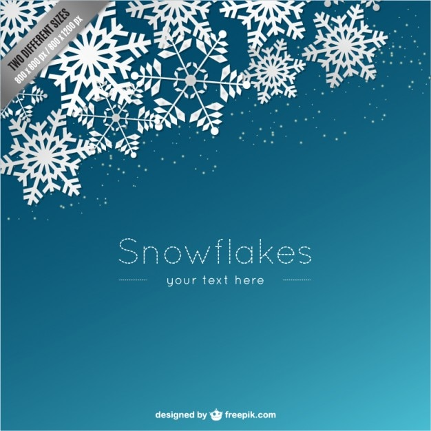 background template with white snowflakes free vector
