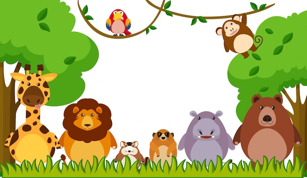 Background template with wild animals in\ park
