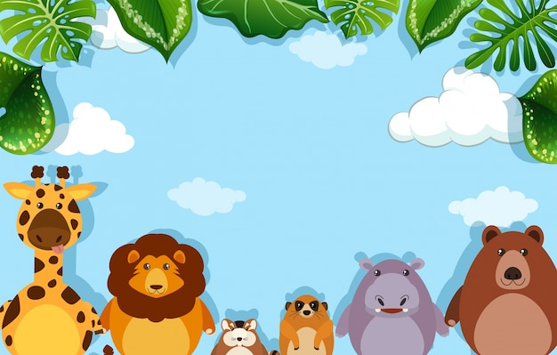 Background template with wild animals Free Vector