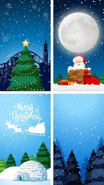 Background templates with christmas theme Free Vector