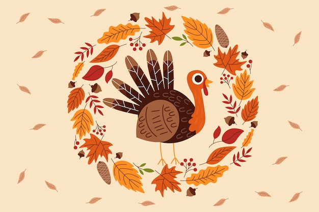 Background thanksgiving in flat design Free Vector