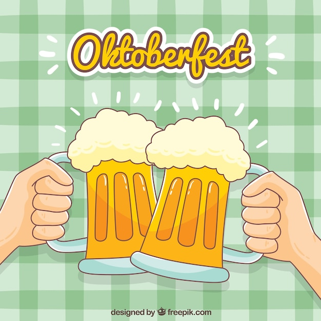 Background of toasts with hand drawn beers Free Vector