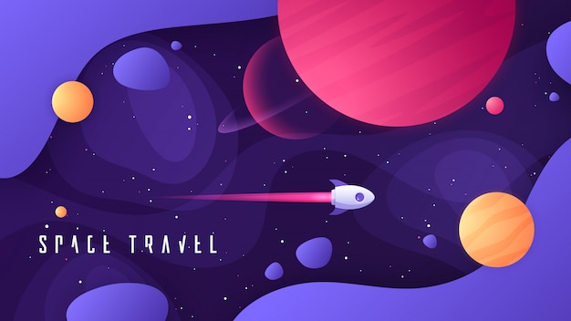Background on the topic of outer space, interstellar travels, universe and distant galaxies Premium Vector