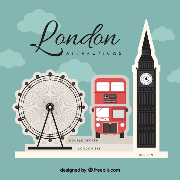 Background of typical london elements Free Vector