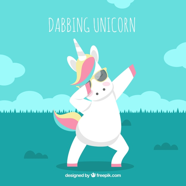 Background of unicorn doing dabbing movement Free Vector