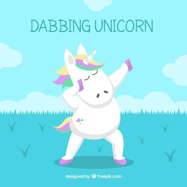 Background of unicorn doing dabbing movement Free Vector