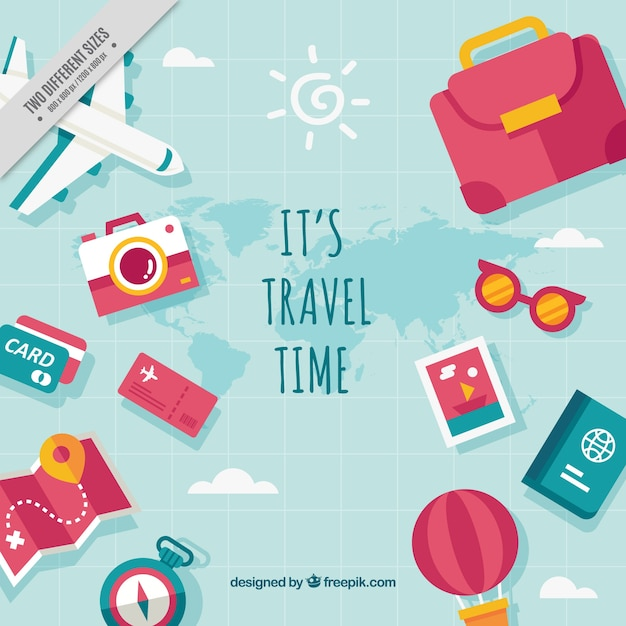 Background of various travel elements with message Free Vector