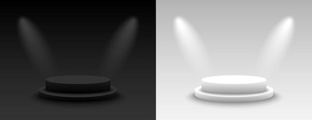 Background vector 3d dark and light rendering with podium. empty dark and light platform pedestal. vector illustration Premium Vector