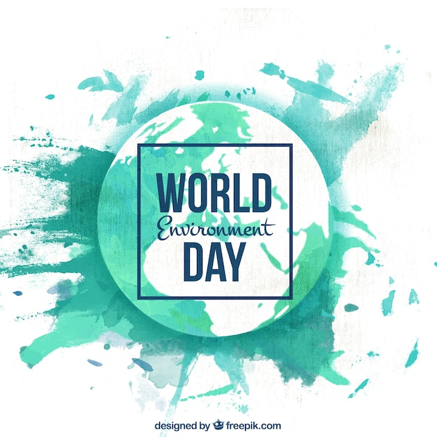 Background of watercolor splashes of world environmental day Free Vector