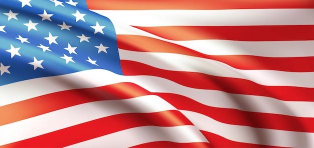 アメリカの国旗を風になびかせて背景。 Premiumベクター