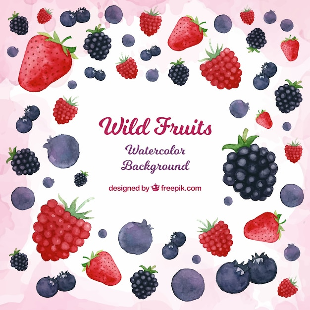 Background of wild fruits in watercolour Free Vector
