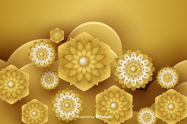 Background with 3d golden flowers, islamic design Free Vector