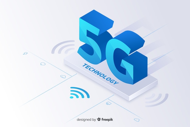 Background with 5g concept isometric style Free Vector