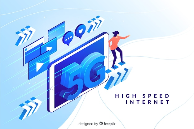 Background with 5g isometric technology Free Vector