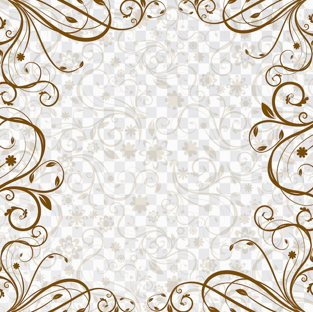 Background with a brown floral frame Free Vector
