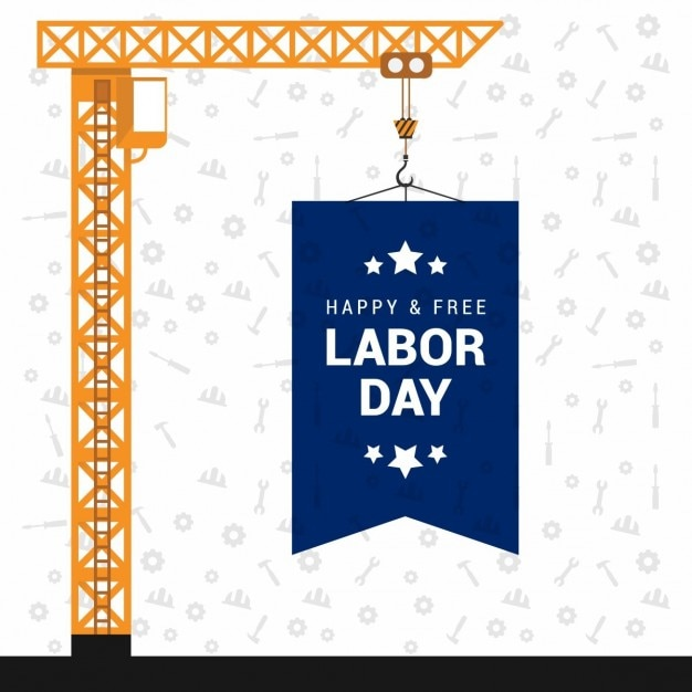 Background with a crane for labor day