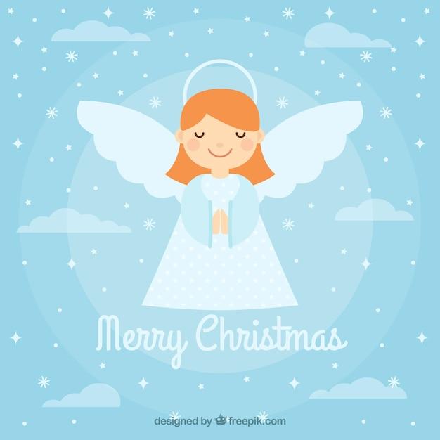 Фон с симпатичным рождественским ангелом Бесплатные векторы