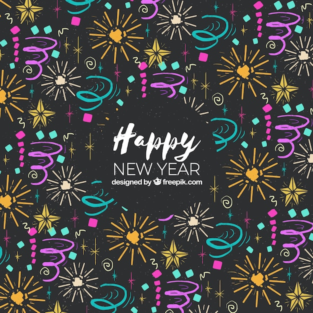 background with a pattern in new year theme free vector