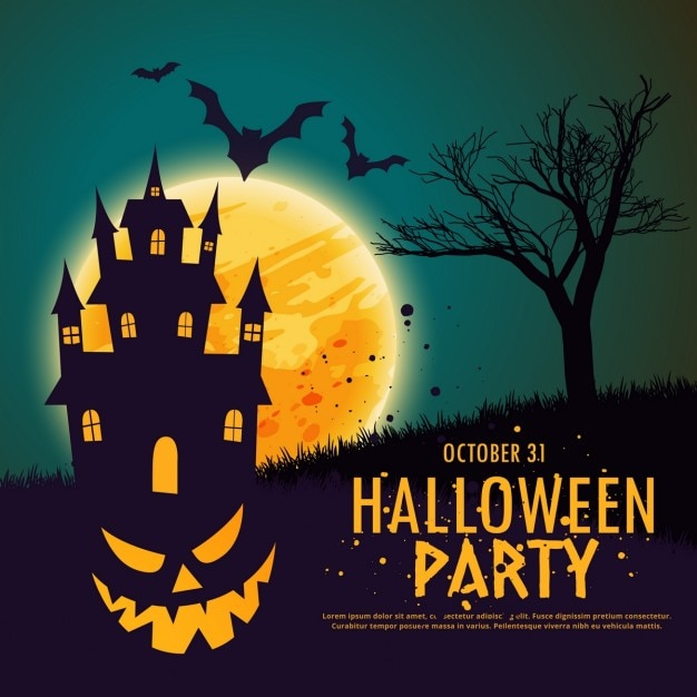 Background with a pumpkin on a haunted house for halloween Free Vector
