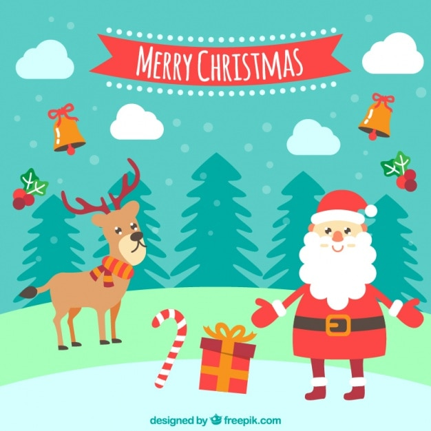 Background with a smiling santa claus and a reindeer ...