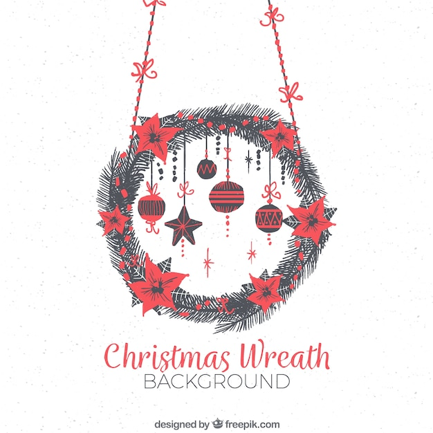 Background with a watercolour christmas decorated with red flowers and baubles